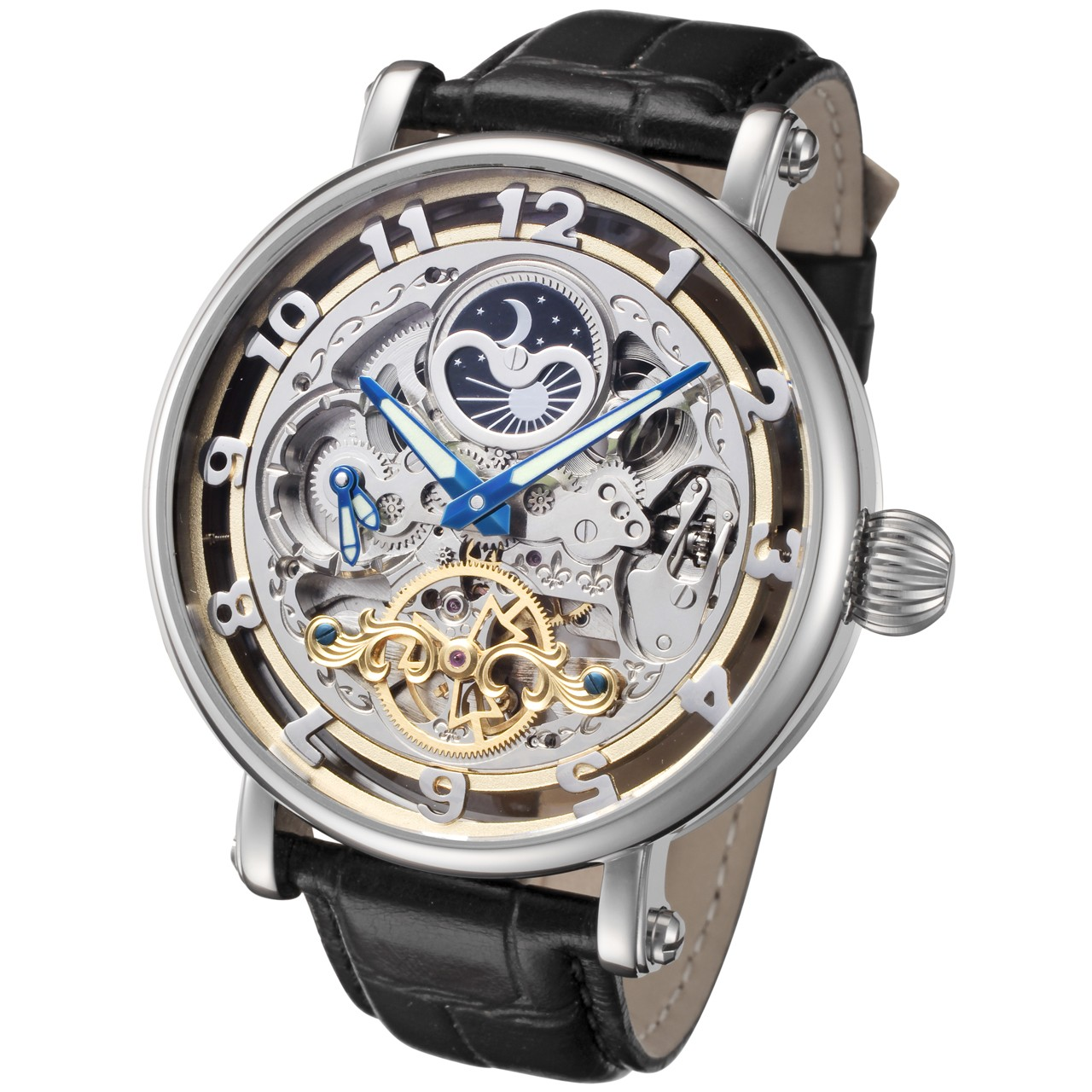 rougois big skeleton automatic with dual time moon phase