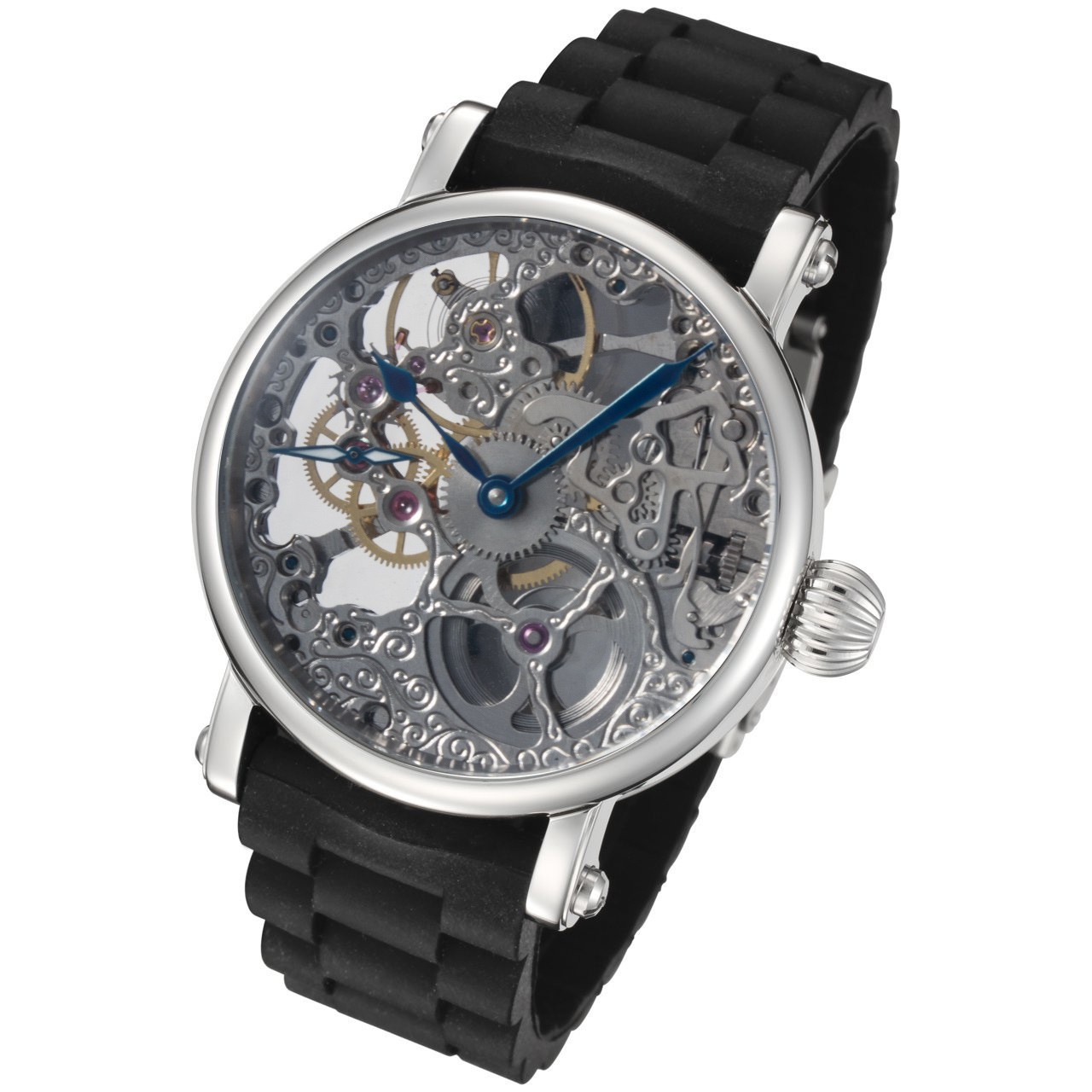 Rougois mechanical skeleton watch black rubber bracelet rm870 for Rubber watches