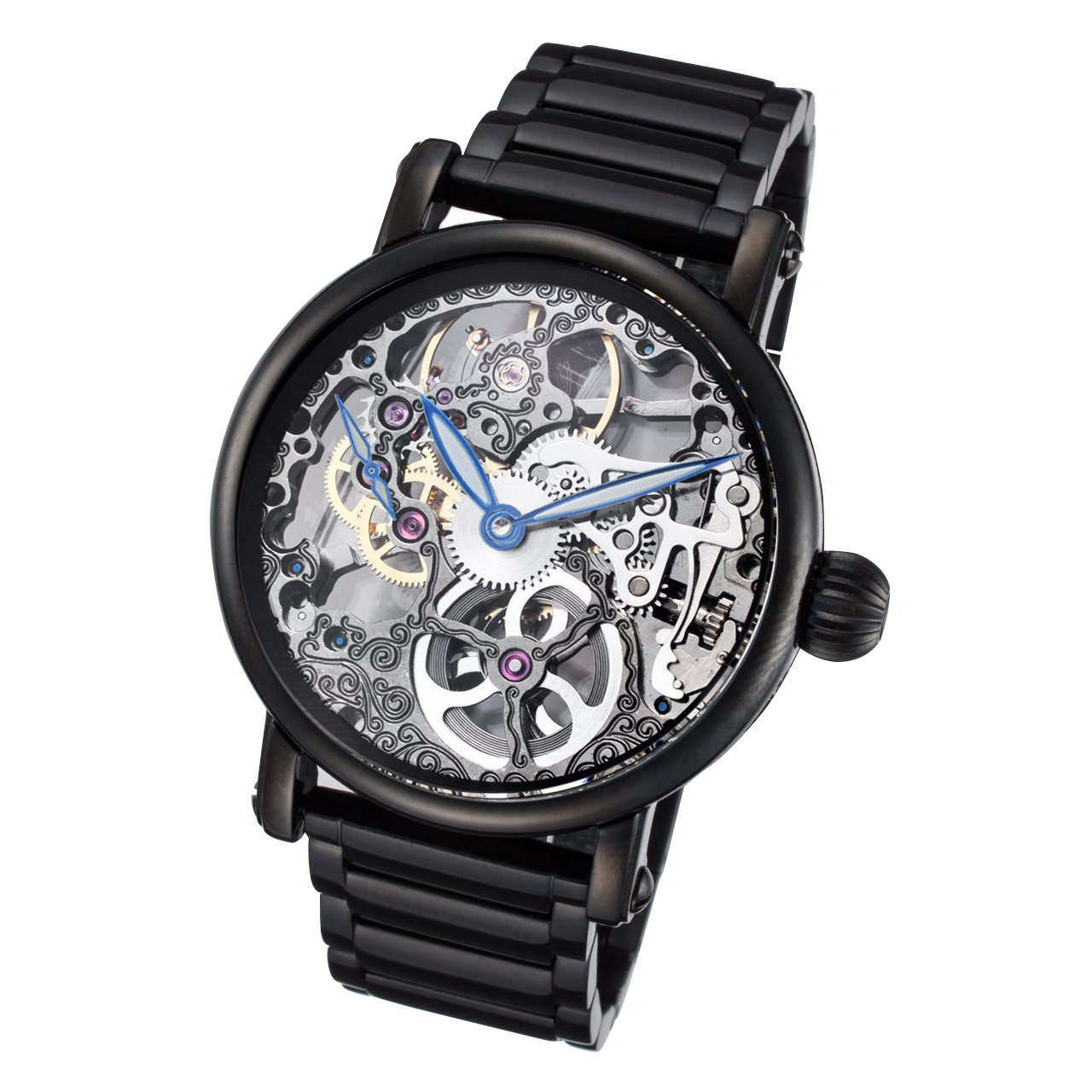 Black Skeleton Watch with Black Stainless Steel Band