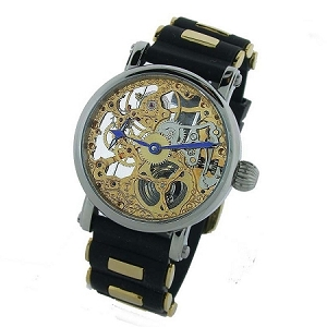 Rougois Skeleton Watch Two Tone Gold and Rubber Band